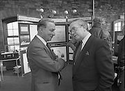 The 1989 Boat Show.   (R89)..1989..10.03.1989..03.10.1989..10th March 1989..Pat the Cope GallagherTD, Minister for the Marine attended the opening of the 1989 Boat Show held at the Point Depot, Dublin. The opening coincided with the minister's birthday...Image shows the Minister Pat the Cope Gallagher at the coastguard stand at the Boat Show in the Point Depot.