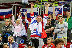 Supporters of Slovenia during Ice Hockey match between National Teams of Great Britain and Slovenia in Round #1 of 2018 IIHF Ice Hockey World Championship Division I Group A, on April 22, 2018 in Budapest, Hungary. Photo by David Balogh / Sportida