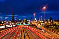 Chicago Skyline & Dan Ryan Expressway (Blue Hour)