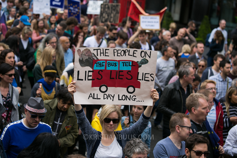 Anti-Brexit march and rally 2nd of July in London, United Kingdom. 48 percent of voters wanted to stay n the EU and now feel disenfranchised and cheated on and many want a second referendum. Thousands of protesters coming down Picadilly.