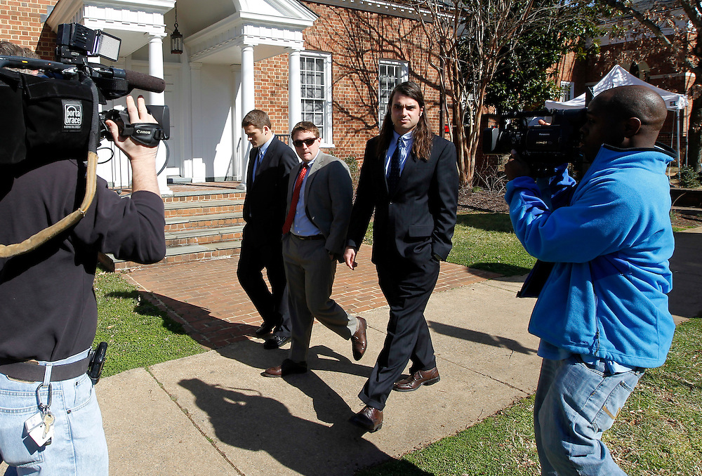 CHARLOTTESVILLE, VA - FEBRUARY 15: From left, UVa lacrosse player Chris Clements and former players Will Bolton and Ken Clausen testifies on the witness stand for the George Huguely trial. Huguely was charged in the May 2010 death of his girlfriend Yeardley Love. She was a member of the Virginia women's lacrosse team. Huguely pleaded not guilty to first-degree murder. (Credit Image: © Andrew Shurtleff