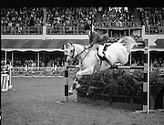Aga Khan Trophy..1979..10.08.1979..08.10.1979..10th August 1979..The annual staging of the Aga Khan Cup took place  at the Royal Dublin Showgrounds, Ballsbridge,Dublin today.It was the first time since 1937 that Ireland won the trophy outright. The winning Irish team comprised of Paul Darragh,Capt Con Power,James Kernan and Eddie Macken..Action shot shows how far back a horse must bend its hind legs in order to clear a fence.