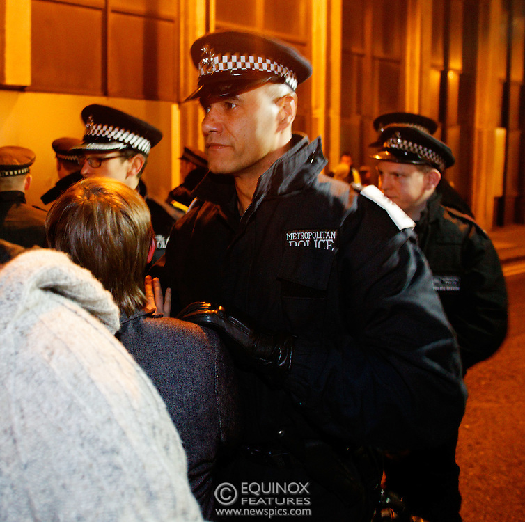 London, United Kingdom - 30 January 2012.Sergeant Delroy Smellie from the Metropolitan Police Territorial Support Group who was charged and cleared of assaulting a female protester at a G20 protest. Police and bailiffs clash with Occupy London protesters and their supporters as they evict them from the Occupy Bank of Ideas site. The campaigners had formed a self styled Earl Street Community Space in part of a building owned by UBS Bank, Earl Street, City of London, London, England, UK..Copyright: ©2012 Equinox Licensing Ltd. +448700 780000 - Contact: Equinox Features - Date Taken: 20120130 - Time Taken: 031842+0000 - www.newspics.com