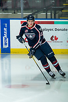 KELOWNA, BC - FEBRUARY 12: Bryan McAndrews #21 of the Tri-City Americans warms up with the puck on the ice against the Kelowna Rockets at Prospera Place on February 8, 2020 in Kelowna, Canada. (Photo by Marissa Baecker/Shoot the Breeze)