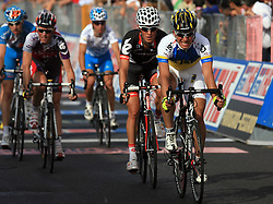 Dmytro Grabovskyy (UKR) of ISD team at finish line of 2nd stage of 92nd Giro d'Italia in Trieste, on May 10, 2009, in Trieste, Italia.  (Photo by Vid Ponikvar / Sportida)