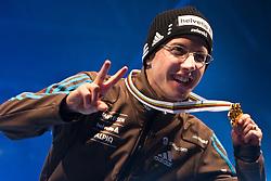20.03.2010, Planica, Kranjska Gora, SLO, FIS SKI Flying World Championships 2010, Flying Hill Individual Medal Ceremony, im Bild der Schiflugweltmeister 2010, Simon Ammann, ( SUI, #30 ), mit der GoldMedaille, EXPA Pictures © 2010, PhotoCredit: EXPA/ J. Groder / SPORTIDA PHOTO AGENCY