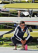 Bled, SLOVENIA.  General View, GV athletes, NED LM2X. Arnoud GREIDANUS.  relaxing before boating  for  a training session.  1st FISA World Cup, on Lake Bled. Thursday  27/05/2010  [Mandatory Credit Peter Spurrier/ Intersport Images]