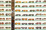 Sunglasses display in a Hampstead shop on Hampstead High Street, London