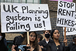 Local residents and supporters of the Save Brick Lane campaign take part in a funeral procession along Brick Lane organised in protest against the ongoing gentrification of Shoreditch on 12th September 2021 in London, United Kingdom. Campaigners are protesting in particular against plans to develop the Truman Brewery into a shopping centre and 5-storey office building. Tower Hamlets experienced more gentrification than any other London borough between 2010-2016.