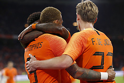 (L-R) Memphis Depay of Holland, Quincy Promes of Holland, Frenkie de Jong of Holland during the International friendly match match between The Netherlands and Peru at the Johan Cruijff Arena on September 06, 2018 in Amsterdam, The Netherlands