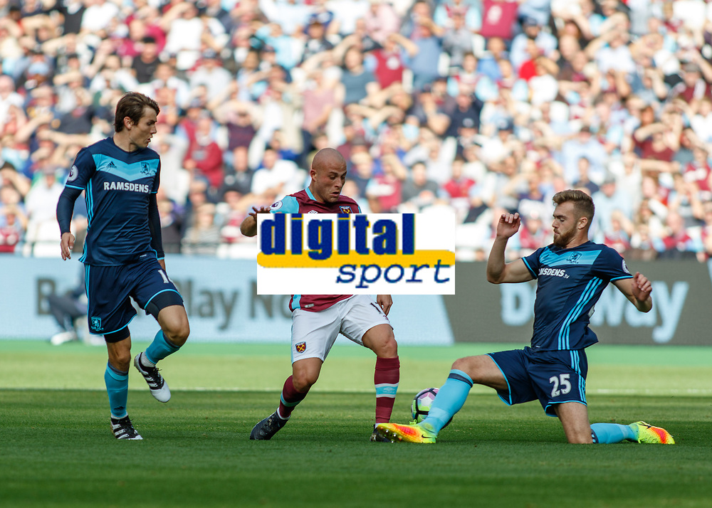 Football - 2016 / 2017 Premier League - West Ham United vs. Middesborough <br /> <br /> Calum Chambers of Middlesborough  gets a leg in to block the advance of Gokhan Tore of West Ham  at The London Stadium.<br /> <br /> COLORSPORT/DANIEL BEARHAM