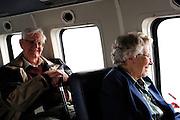 Isles of Scilly, 20 May 2009: Brian and Anne Horrell on the helicopter to St Mary's. Photo by Peter Horrell / http://peterhorrell.com