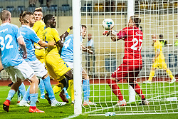 Shamar Amaro Nicholson of NK Domzale, Slobodan Vuk of NK Domzale  and Johan Dahlin  with Rasmus Bengtsson of Malmo FF during Football match between NK Domzale and Malmo FF in Second Qualifying match of UEFA Europa League 2019/2020, on July 25th, 2019 in Sports park Domzale, Domzale, Slovenia. Photo by Grega Valancic / Sportida