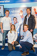 Olympic gold medallist; Sir Ben Ainslie promotes the Andrew Simpson Sailing Foundation with other Olympic medallists (Paul Goodison, Stevie Morrison and Bryony Shaw) at the London Boat Show. Excel, London, UK  8 January 2014 Guy Bell, 07771 786236, guy@gbphotos.com