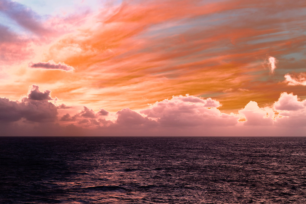 Dramatic and Splendorous Skies At Sea off the Shores of Kauai, Hawaii