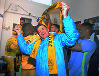 Football - 2016 / 2017 FA Cup - Fourth Round: Sutton United vs. Leeds United<br /> <br /> Sutton Manager Paul Doswell celebrates in the changing room at Gander Green Lane.<br /> <br /> COLORSPORT/ANDREW COWIE