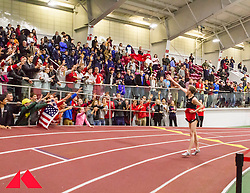 Galen Rupp set American record in 2-Mile at BU Terrier Classic Indoor Track, Rupp takes victory lap tossing tshirts into stands of spectators