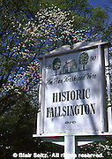 Historic Fallsington Sign, Philadelphia gardens and arboretums, 300 Year Old Village, Delaware River, Bucks Co., PA