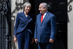 © Licensed to London News Pictures. 06/06/2018. London, UK. Prime Minister Theresa May  greets Prime Minister of Israel Benjamin Netanyahu on Downing Street. Photo credit: Rob Pinney/LNP