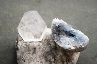 """Celestite blue crystal. Celestite, also called Celestine, is a strontium sulfate mineral first reported in the 1790's. Its name, derived from the Latin caelestis, means """"celestial"""" or """"heavenly,"""" and refers to the sky-blue color commonly exhibited by its crystals."""