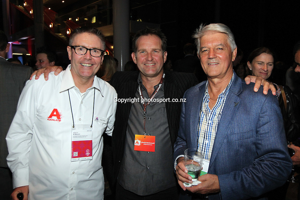 From left ATEED Ceo Brett O'Riley, Chairman David McConnell and Norm Thompson during New Zealand's major international tourism trade show. TRENZ Welcome Function. Viaduct Events Centre, Auckland, New Zealand. Sunday 21 April 2013. Photo: Fiona Goodall / Photosport.co.nz