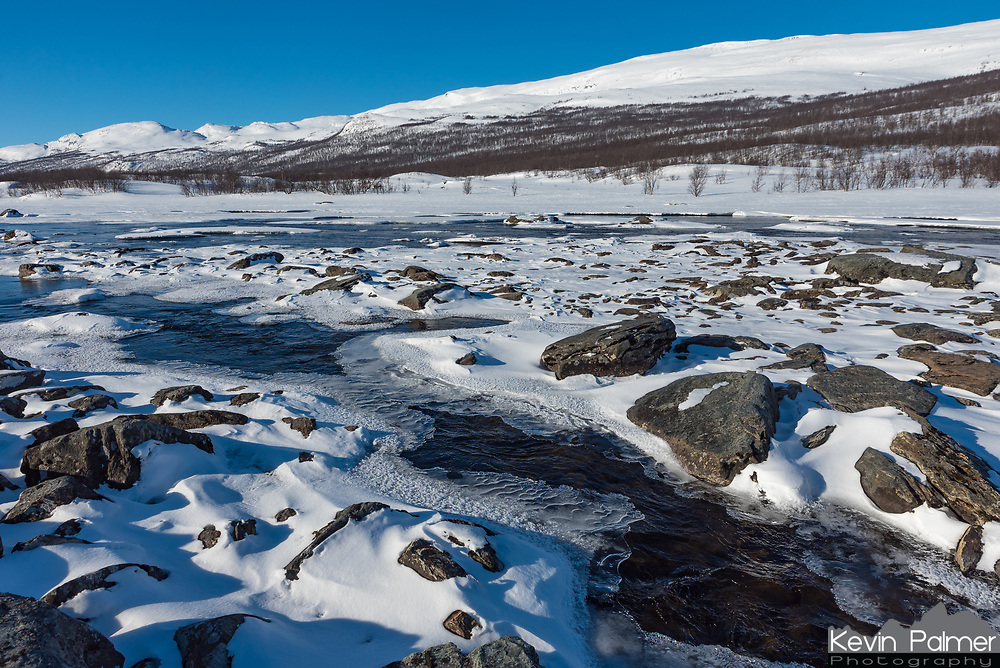 It's not easy to find water that's not frozen in Abisko National Park in the winter. But the river was flowing fast enough here that the middle was kept ice-free.