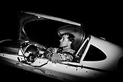 Czech Martin Sonka waits in his plane before the decisive final heat.