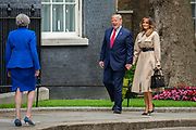 Prime Minister Theresa May greets President Donald Trump and First Lady Melania Trump at Downing Street on 4th June 2019 in London, United Kingdom. This is day two of the US President's state visit.