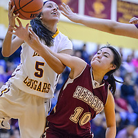 Tohatchi Cougar Kalian Mitchell (5) is fouled by Rehoboth Lynx Tyra West (10) Tuesday at Tohatchi High School.