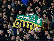 Manchester Utd fans unfurl an anti Glazer and Woodward banner during the FA Cup match at the Pride Park Stadium, Derby. Picture date: 5th March 2020. Picture credit should read: Darren Staples/Sportimage