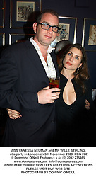 MISS VANESSA NEUMAN and MR WILLE STIRLING, at a party in London on 5th November 2003.POG 282