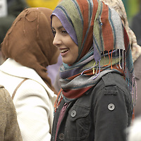 Young muslim women wearing coloured hijab<br />