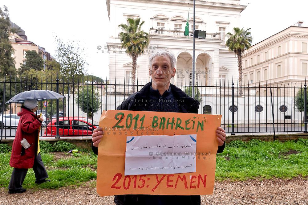 Roma 4 Aprile 2015<br /> La Rete No War manifesta davanti all 'Ambasciata dell'Arabia Saudita per protestare contro l'intervento militare saudita nello Yemen.<br /> Rome April 4, 2015<br /> The Network No War manifested in front of the 'Embassy of Saudi Arabia in protest against the Saudi military intervention in Yemen.