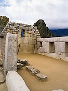 The Incan ruins of The Temple of the Three Windows at Machu Picchu, near Aguas Calientes, Peru.