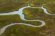 Aerial view of the salt marsh in Charleston, SC.