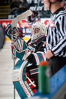 KELOWNA, CANADA - NOVEMBER 20: Jackson Whistle #1 of Kelowna Rockets kneels on the ice during warm up against the Edmonton Oil Kings on November 20, 2015 at Prospera Place in Kelowna, British Columbia, Canada.  (Photo by Marissa Baecker/Getty Images)  *** Local Caption *** Jackson Whistle;