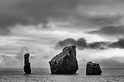 Black and white large rock formations in the sea, Baily Head,Deception Island, Antarctic Peninsula, The Antarctic