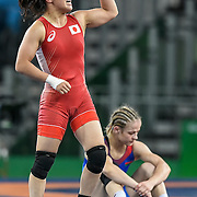 Japan's Eri Tosaka celebrated her wrestling gold medal victory in the women's freestyle 48kg after defeating Mariya Stadnik of Azerbaijan on Thursday during the 2016 Summer Olympics Games in Rio de Janeiro, Brazil.