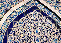 Pakistan, Sehwan Sharif, 2004. A testament to his importance, the beautiful tilework of Hazrat Lal Qalander?s tomb is of the highest craftsmanship. Golden doors from the Shah of Iran adjoin the south entrance. .