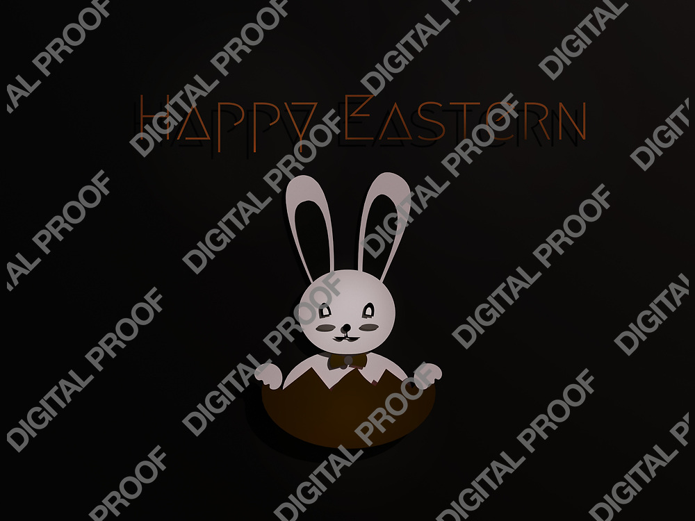 Easter Bunny black minimalism Art paper cut - 3D Rendering Concept