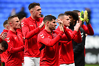 Fleetwood Town's Ched Evans and his team-mates applaud the fans<br /> <br /> Photographer Richard Martin-Roberts/CameraSport<br /> <br /> The EFL Sky Bet League One - Bolton Wanderers v Fleetwood Town - Saturday 2nd November 2019 - University of Bolton Stadium - Bolton<br /> <br /> World Copyright © 2019 CameraSport. All rights reserved. 43 Linden Ave. Countesthorpe. Leicester. England. LE8 5PG - Tel: +44 (0) 116 277 4147 - admin@camerasport.com - www.camerasport.com