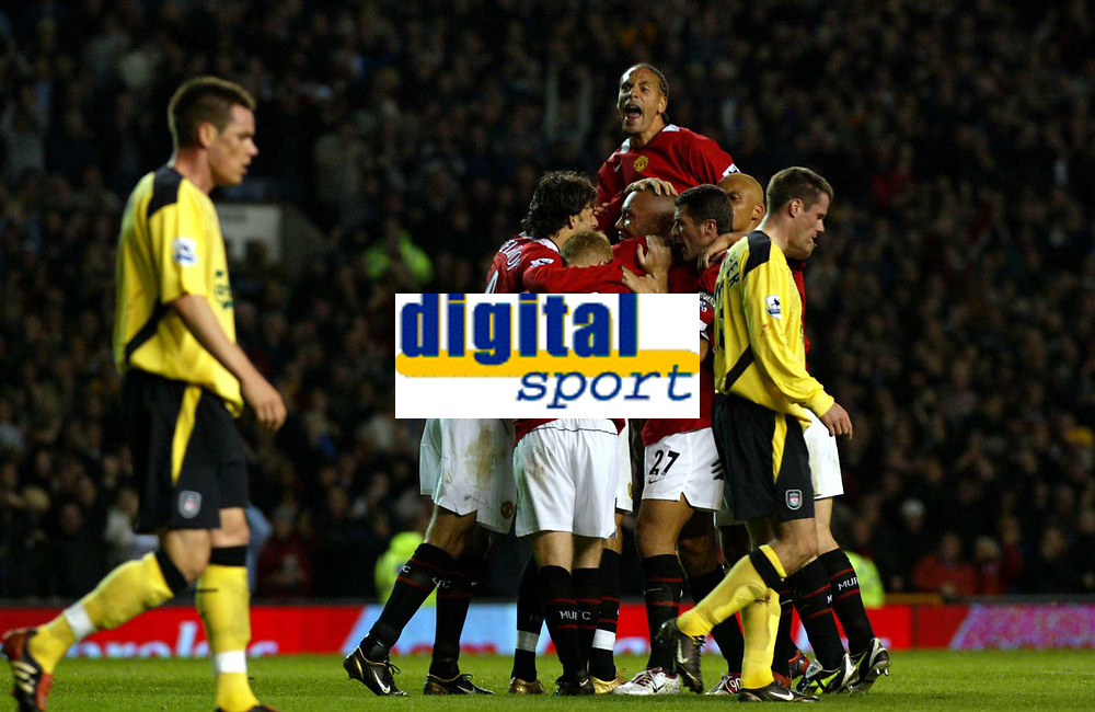Manchester United v Liverpool Premier League 20/09/04<br />Mikael Silvestre celerates second goal<br />Photo Martyn Harrison / Fotosports International