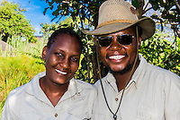 Camp staff at Lebala Camp, Kwando Concession (Kwando Safaris), Linyanti Marshes, Botswana.