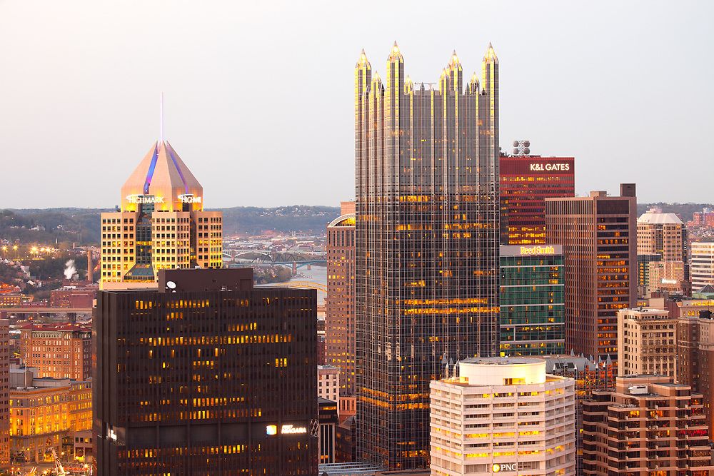 Pittsburgh, Pennsylvania, United States - April 28, 2011: Close-up view to the cityscpae of central district of Pittsburgh at dusk.