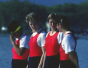 Banyoles, SPAIN, Russian Women's Quadruple Sculls, RUS W4X: Bronze Medalist crew: Elena KHLOPTSEVA: Ekaterina KARSTEN: Tatjana USTIUJANINA: Antonina ZELIKOVITCH.  1992 Olympic Regatta, Lake Banyoles, Barcelona, SPAIN.    [Mandatory Credit: Peter Spurrier: Intersport Images]
