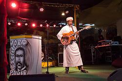 Haile Israel plays music for the audience.  20th Annual Bordeaux Farmers Rastafari Agricultural & Cultural Vegan Food Fair.  Bordeaux Farmers Market.  St. Thomas, USVI.  14 January 2017.  © Aisha-Zakiya Boyd