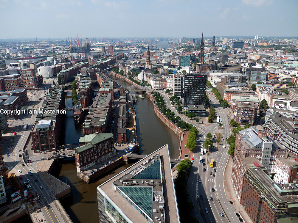 Cityscape of historic Speicherstadt and city of  Hamburg Germany