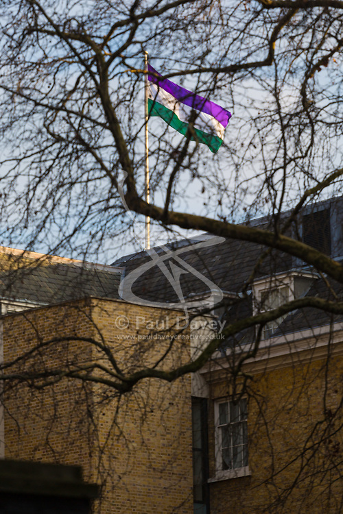 A Suffereagette flag flies from the Cabinet Office - London. February 06 2018.
