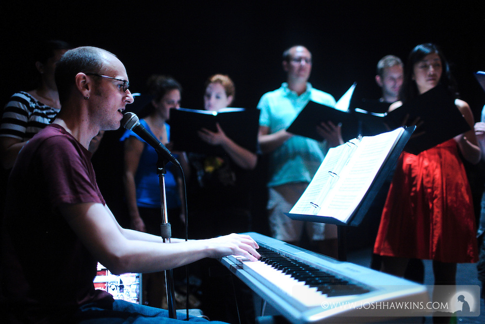 """""""Tap Out Loud"""" by Chicago Dance Theatre, a dance production done in collaboration with other dance and musical performers at Chicago's Athenaeum Theater...Andrew Edwards on keyboards and singing, performing with the Red Line Choir"""