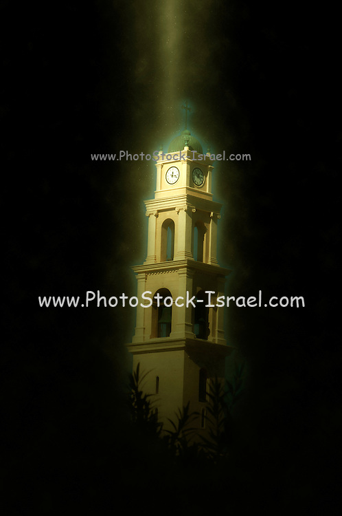 Computer Generated Israel, Jaffa, the belfry of the St Peter church and Monastery illuminated from above